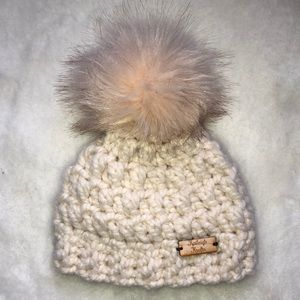 Handmade creamy beige crochet hat 3-6 months